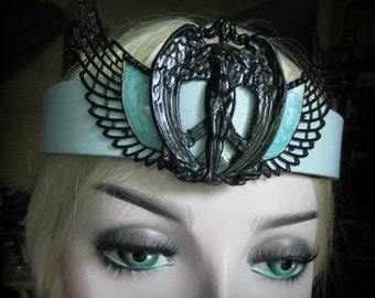 Goddess Headpiece, Black Isis, The Black Virgin, Leather Headband, Pagan Ritual, Burning Man, Festival Headpiece