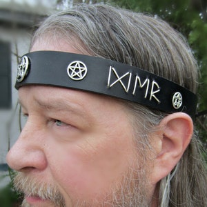 Pagan Ritual Stag Headdress Pentacle Circlet Pentacle Crescent Unisex Goddess Headpiece Black Leather Headband Crescent Circlet