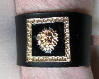 Golden Lion Cuff, Leather Cuff, Lion Bracelet, Black Leather, Size 8, Ready to Ship