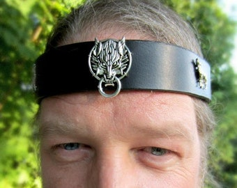 Fenrir Wolf Leather Headband, Burning Man, Headpiece for Men, Wedding for Men, Groomsmen,  LARP, Reenactment