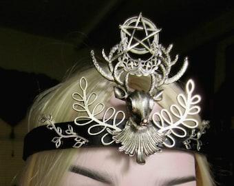 Stag Headdress, Pentacle Crescent, Pagan Ritual, Goddess Headpiece, Black Leather Headband, Crescent Circlet, Unisex, Pentacle Circlet
