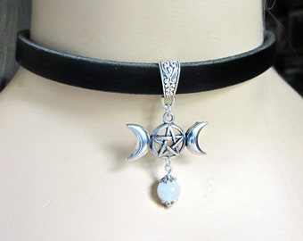 Triple Moon Pentacle Choker, Black Leather Choker, Pentacle Jewelry, Moonstone Bead, Pink Leather, While Leather, Choose Color