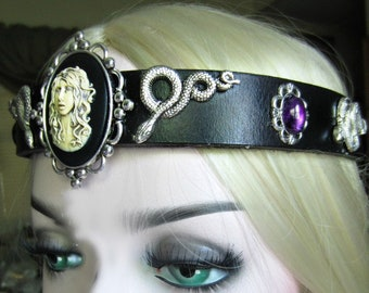 Medusa Headband, Serpent Headpiece, African Amethyst Cabochons, Reenact Snakes Headpiece. One of a KInd, Ready to Ship