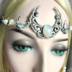 Rainbow Moonstone Circlet, Triple Moon Crescent Headdress, Triple Goddess Circlet