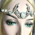 Rainbow Moonstone Circlet, Triple Moon Crescent Headdress, Triple Goddess Circlet