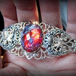 Dragons Breath Opal Hair Clip, Triple Moon Goddess Barrette, Glass Opal, Stronger Made in France Clip, Made to Order