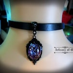 Dragons Breath Opal Choker, Black Leather Choker, Gothic Black Setting, Glass Opal, Made to Order