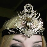 Stag Headdress, Pentacle Crescent, Pagan Ritual, Goddess Headpiece, Black Leather Headband, Crescent Circlet, Unisex, Pentacle Circlet