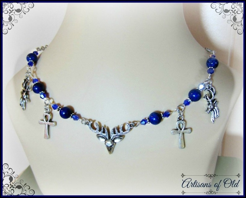 Stag Circlet or Necklace Antler Jewelry Yule Jewelry Lapis image 0