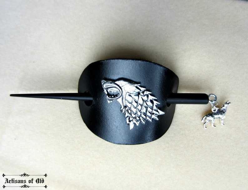 Silver Wolf Hair Slide House Stark Barrette Black or Brown image 0