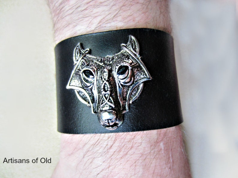 Celtic Wolf Black Leather Cuff Brown Leather Unisex image 0