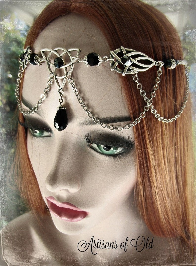 Triquetra Emerald Circlet Black and Silver Headdress Gothic image 0