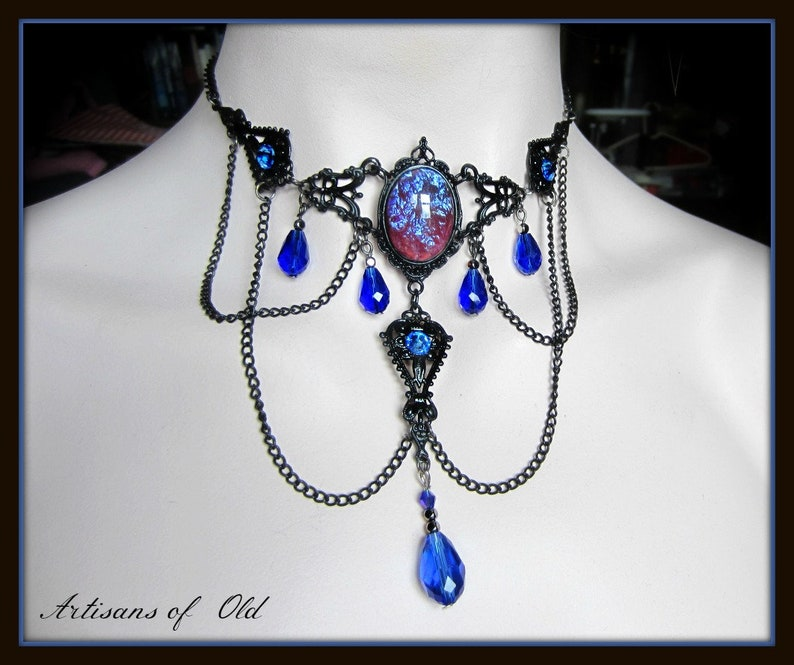 Dragons Breath Victorian Choker Black and Red or Blue image 0