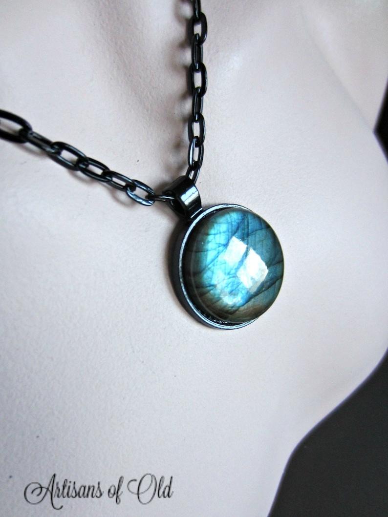 Natural Labradorite Necklace Gothic Black Setting Blue Green image 0