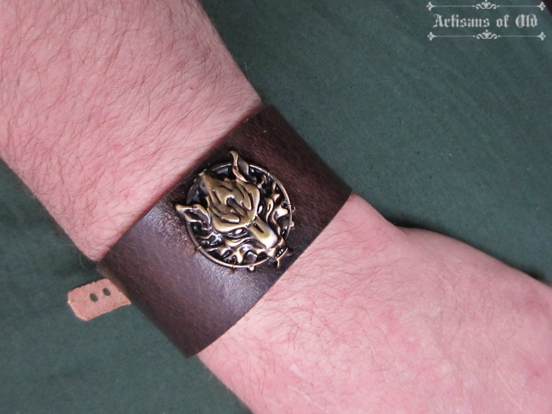 Bronze Wolf Cuff Brown or Black Leather Final Fantasy image 0