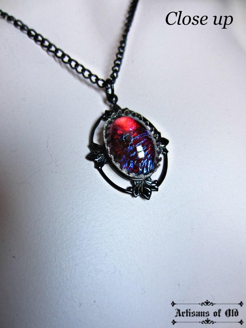 Dragons Breath Opal Pendant Gothic Black Necklace Black image 0