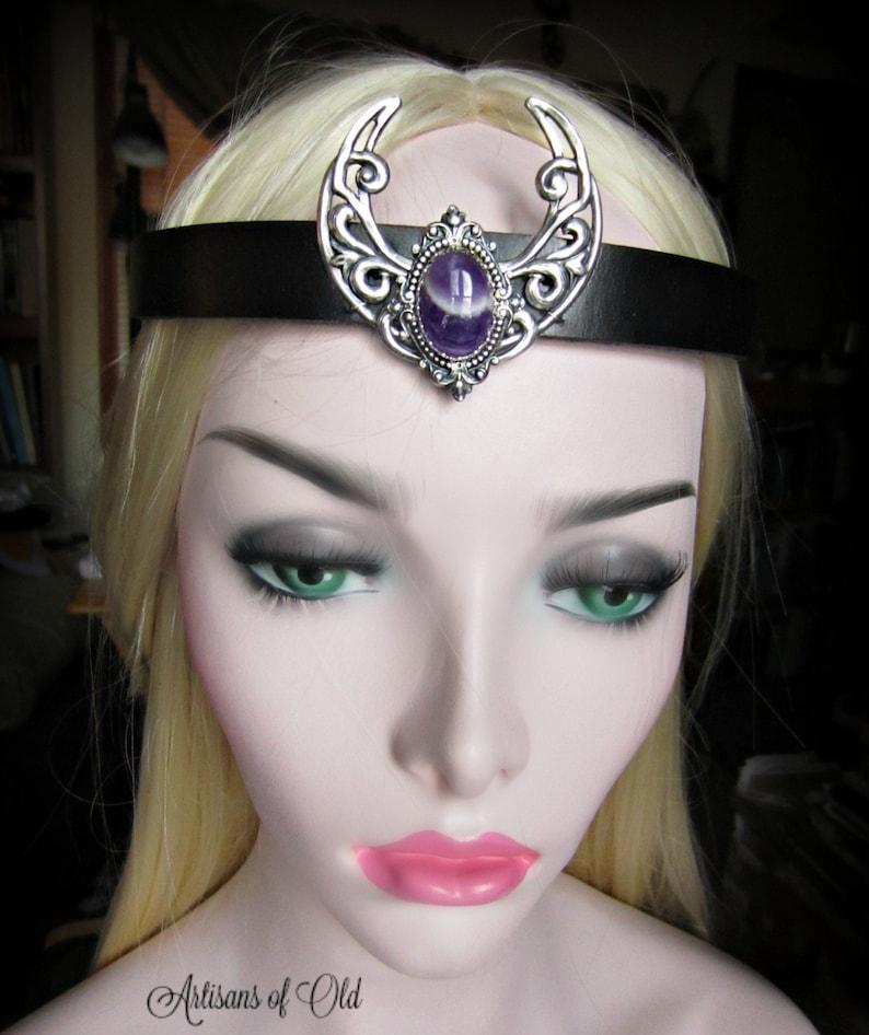 Amethyst Silver Crescent Headpiece Moonstone Circlet Black image 0