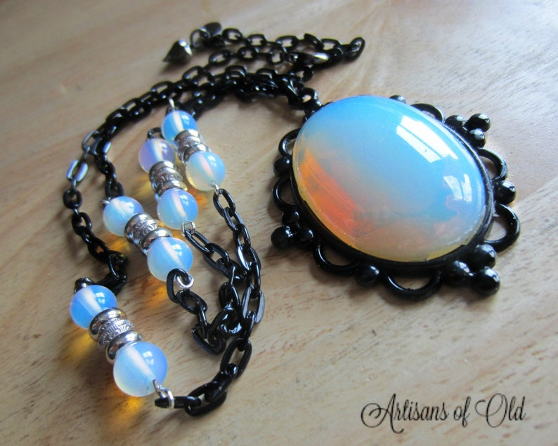 Opalite Necklace Black and White Black Setting and Chain image 0