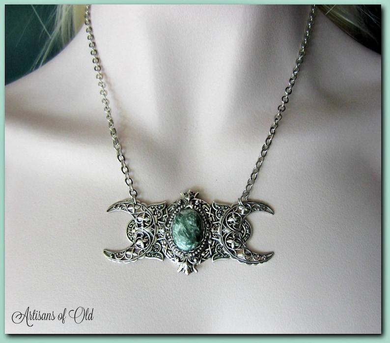Seraphinite Triple Moon Goddess Necklace Russian Seraphinite image 0