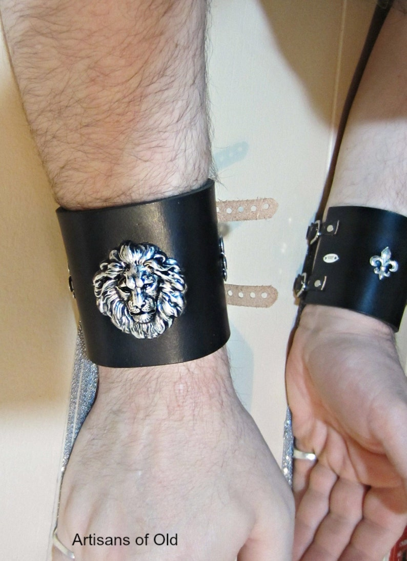 Silver Lion Cuff Black Leather 3 Inch Wide Cuff Unisex image 0