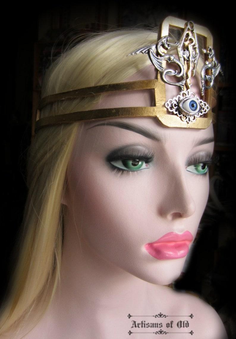 Burning Man Third Eye Queen Mavia Renaissance Gold Leather Made to Order Dragons Headpiece Warrior Queen Headpiece Cosplay