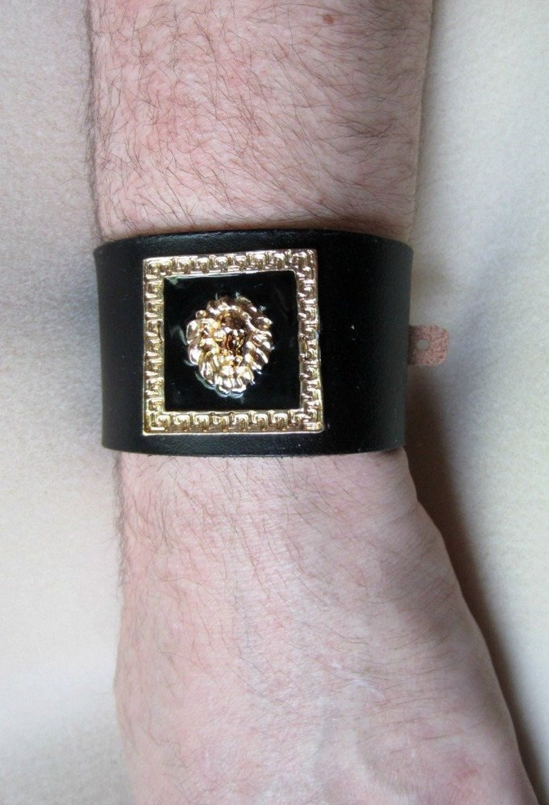 Golden Lion Cuff Leather Cuff Lion Bracelet Black Leather image 0