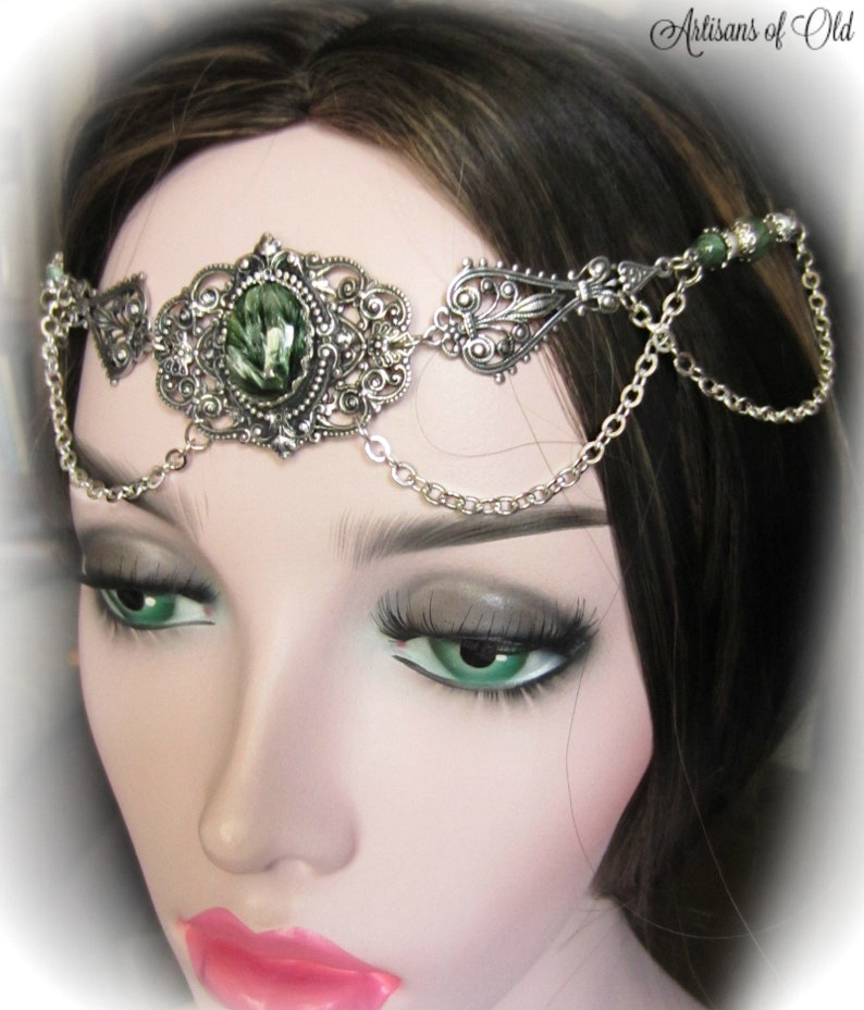 Seraphinite Circlet Green and Silver Victorian Headdress image 0