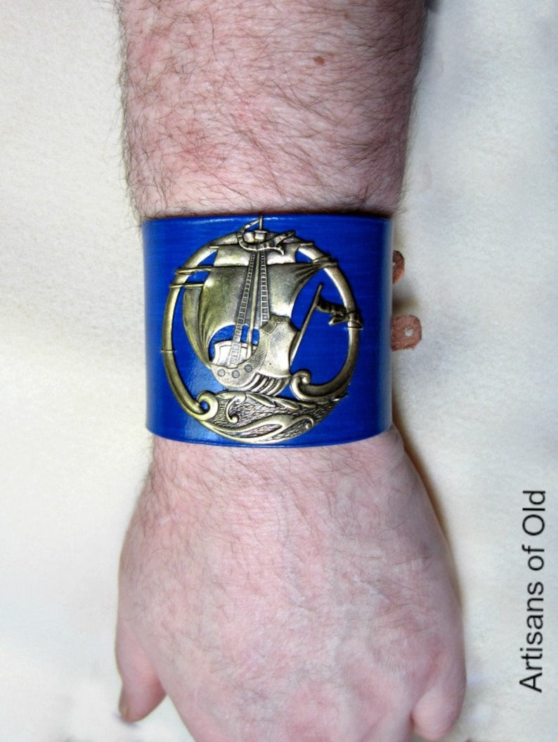 Brass Viking Ship  Blue Leather Cuff Wide Bracelet for Men image 0