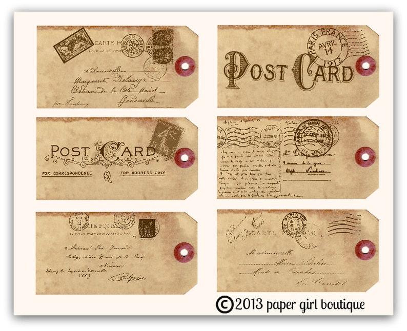 POSTCARD CARTE POSTALE Vintage Ephemera Hang Tags No.001 ....Instant Digital Download