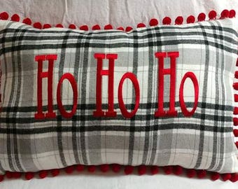 Holiday Pillow , Black White Plaid, Christmas Plaid, Ho Ho Ho Pillow, Embroidered Pillow,Lumbar 14 x 22, Seasonal Decor