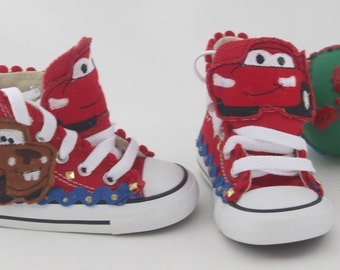 """Customized """"Cars"""" Converse Shoes/ Customized Chuck Taylors"""