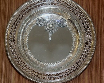 Round Fancy Filigree edged  Silverplated  Mirrored Tray/ Wall Decor