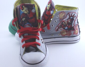 "Customized ""Iron Man"" Converse Shoes/ Customized Chuck Taylors"