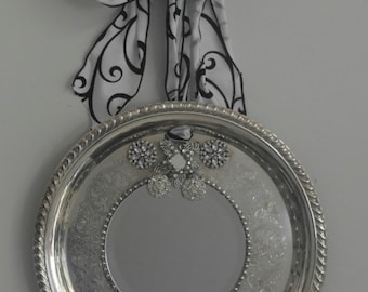 Round ribbed Edge Fancy Silverplated  Mirrored Tray/ Wall Decor