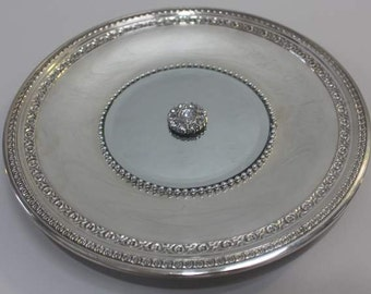 Simple Elegant Etched  edged  Silverplated  Mirrored Tray B/ Wall Decor