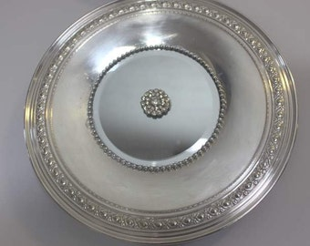Simple Elegant Etched  edged  Silverplated  Mirrored Tray / Wall Decor