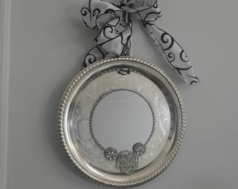 Round Fancy edged  Silverplated  Mirrored Tray/ Wall Decor