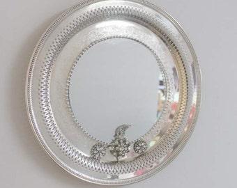 Pierced  Edge Round   Silverplated  Mirrored  / Wall Decor