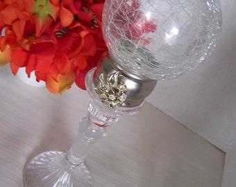 SALE 20% off Embellished Crackled glass ball crystal finial