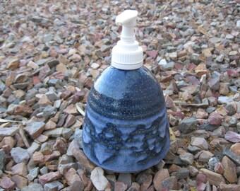Stoneware Soap Pump,  Hand Lotion Pump in Cobalt Blue, Lotion Pump, Sturdy Weighted Soap/Lotion Pump, Blue Swirl Stoneware Pottery Soap Di