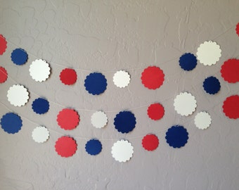 Red, White & Blue Scalloped Circle Garland/Banner, Wedding Banner, Patriotic Wedding, Patriotic Wedding