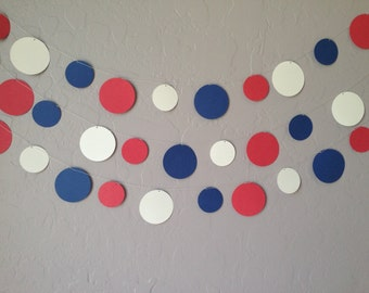 Memorial Day Garland, Patriotic Banner, Red, White & Blue Circle Garland/Banner, 4th of July Banner,  Wedding Banner, Patriotic Garland