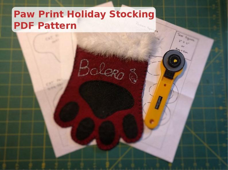 Paw Print Holiday Stocking  PDF Pattern image 0
