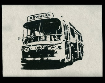 BUS TO NOWHERE Punk Patches Large Jacket Patch Back Patch Canvas Patch Goth Sew On Patch Screen Printed Patch