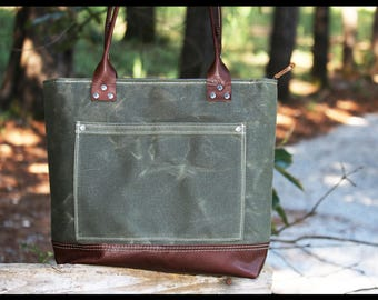 """Zippered Waxed canvas tote - heavy weight waterproof canvas bag and genuine leather  """" OLD COUNTRY BAG """""""