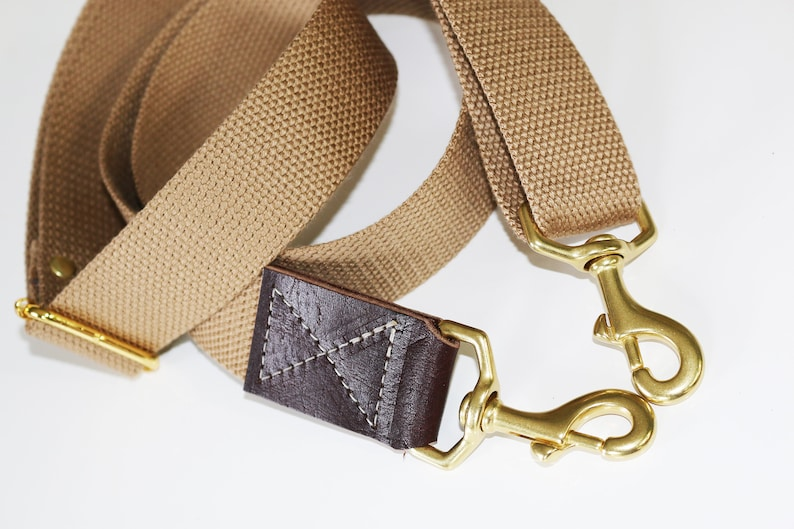 Light Khaki adjustable cotton webbing shoulder strap with leather accent Cross Body Messenger 1.50 in wide SOLID BRASS