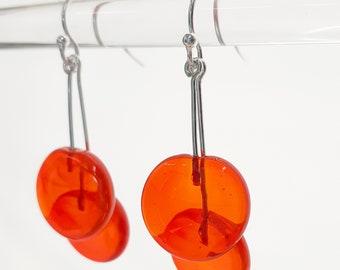 Orange Glass Dangling Earrings - Contemporary Jewelry - Lampworked Flameworked Earrings - Orange Earrings