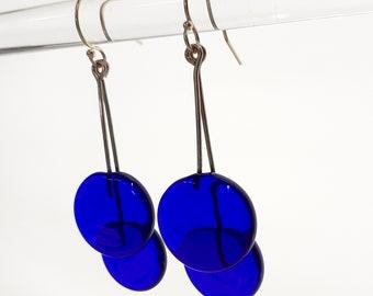Navy Blue Glass Dangling Earrings - Contemporary Jewelry - Lampworked Flameworked Earrings -  Navy Blue Earrings