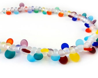 Glass Bead Necklace - Statement Necklace - Lampworked Flameworked Necklace - Colorful Glass Jewelry