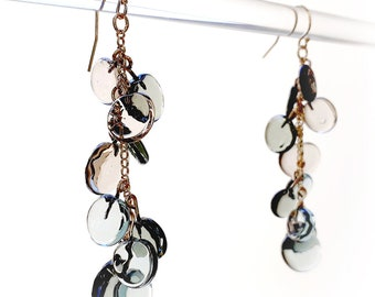 Gray Glass Earrings - Contemporary Jewelry - Lampworked Flameworked Earrings - Gray Earrings